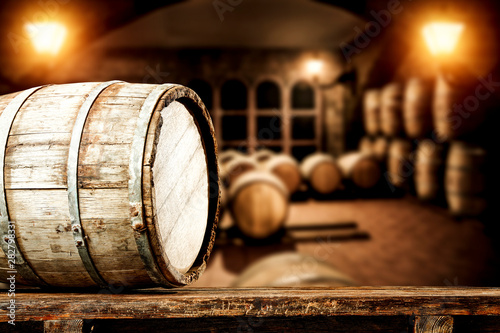 Leinwand Poster Wooden old barrel and free space for your decoration.