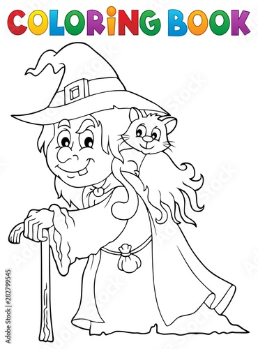 Poster Voor kinderen Coloring book witch with cat topic 1