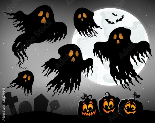 Fotobehang Voor kinderen Halloween image with ghosts topic 1