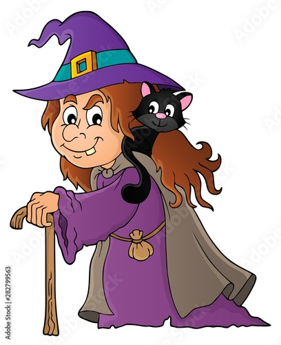Fotobehang Voor kinderen Witch with cat topic image 1