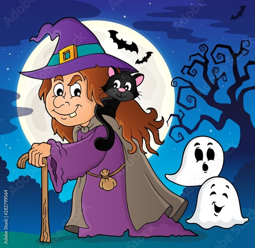Fotobehang Voor kinderen Witch with cat topic image 2