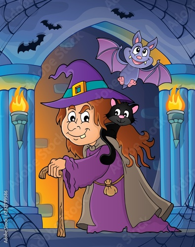 Fotobehang Voor kinderen Witch with cat topic image 3