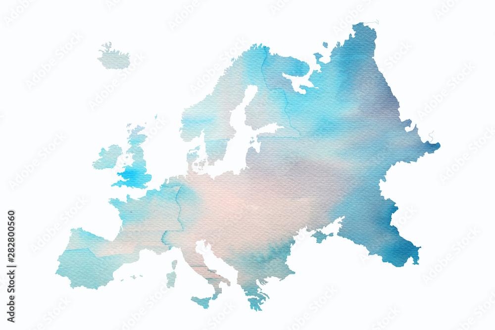 Fototapeta Mapa Europy w wersji artystycznej na białym tle
