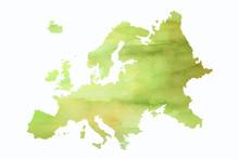 Mapa Europy W Wersji Artystycznej Na Białym Tle