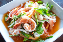 Thai Seafood Salad With Shrimp,Popular Food In Thailand.