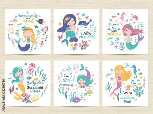 Photo Set of posters with mermaid, sea animals and lettering