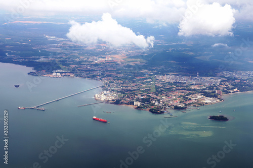 aerial view from plane overlooking the port or harbor area of Kuala Lumpur the capital of Malaysia
