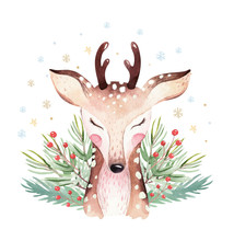 Watercolor Cute Cartoon Deer Animal Portrait Design. Winter Holiday Card On White Background. New Year Fawn Decoration, Merry Christmas Postcard