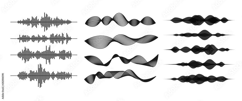 Fototapeta Sound / audio wave or soundwave line art for music apps and websites. Voice waveform vector illustration isolated on white background