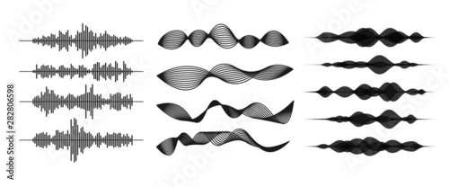 Sound / audio wave or soundwave line art for music apps and websites Wallpaper Mural