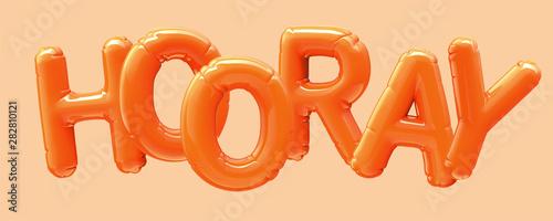 HOORAY orange foil balloon Canvas Print