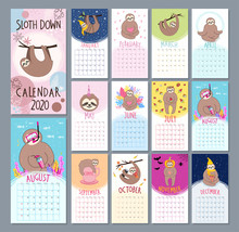 Monthly 2020 Calendar With Cute Sloth Characters In Cartoon Style