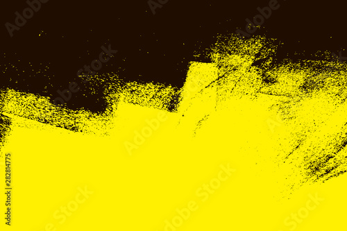 yellow and black paint background texture with brush strokes