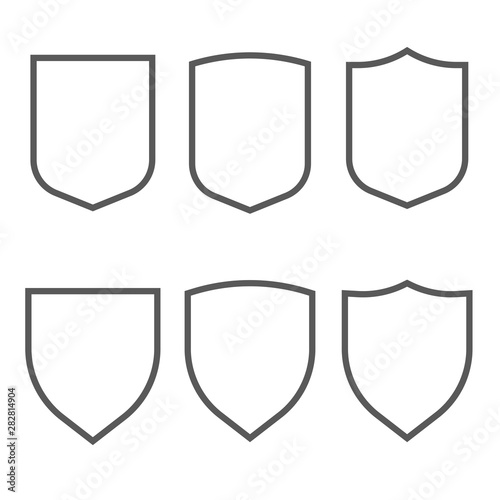 Photo Security assurance gray outline icons set isolated on white