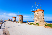 Windmills In Rhodes Island, Greece