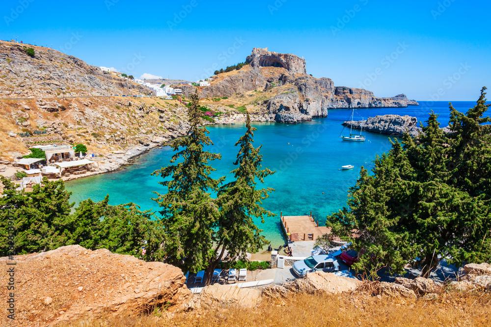 Fototapeta Lindos Acropolis and beach, Rhodes