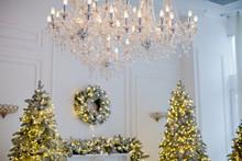 Royal Room With Christmas Tree And Fireplace