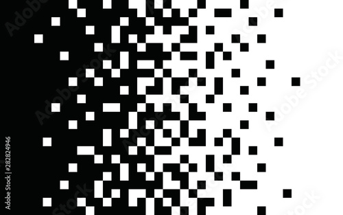Fototapeta Pixel gradient Speed seamless pattern Vector line texture Fast effect design Black elements on white background obraz