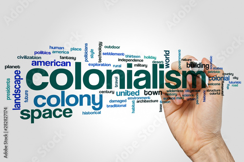 Fotomural Colonialism word cloud concept on grey background