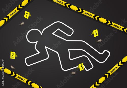 Obraz na płótnie Crime scene, do not cross police tape