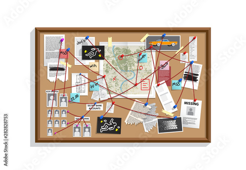 Detective Board with pins and evidence, crime investigation Fototapet