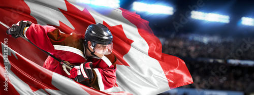 Canada Hockey Player in action around national flags Canvas Print