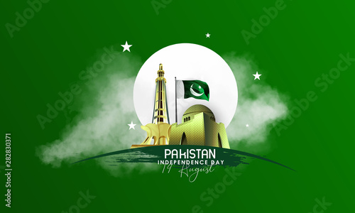 Tablou Canvas illustration of holiday 14 August is the day of independence of Pakistan