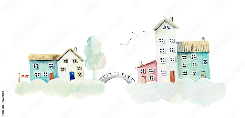 Fototapety, obrazy: Cloudy village. Watercolor hand drawn illustrations