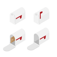 Opened, Closed Mailbox Set, Collection Isometric View Isolated On White Background