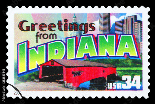 Fotografia  UNITED STATES OF AMERICA - CIRCA 2002: a postage stamp printed in USA showing an image of the Indiana state, circa 2002