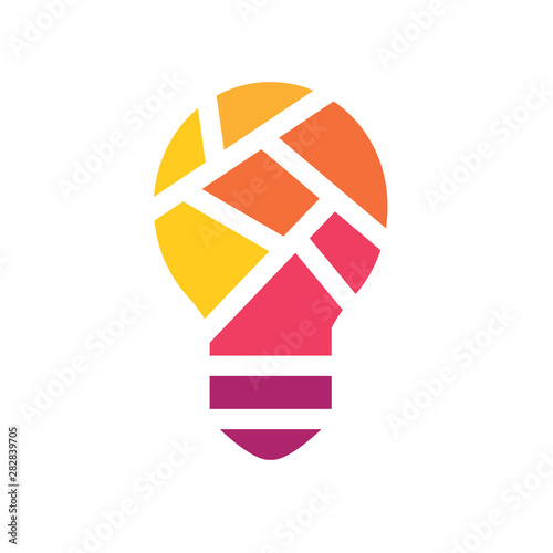 colorful geometric light bulb icon- vector illustration