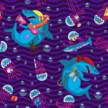 Seamless Wavy Background Of Jellyfish Shark Characters Underwater Bubbles Emotions Objects. Baby Printing Paper Cloth Banner. Vector Image.