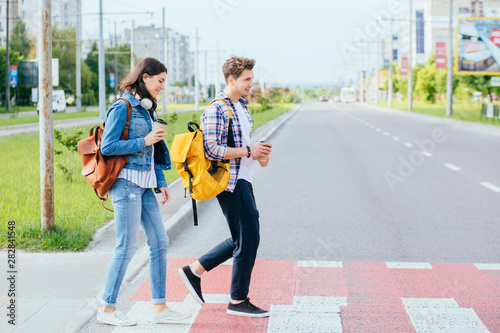 A picture of a happy young family on a walk on a day off Fototapete