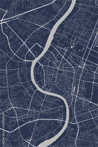 Fotografie, Obraz map of the city of Bangkok, Thailand