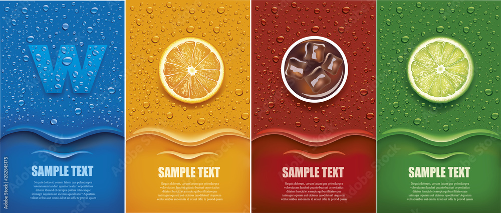 Fototapeta Drinks and juice background with drops and orange and lime slice