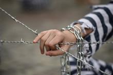 Prisoner Grabbing A Barbed Wir...