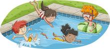 Cute Happy Cartoon Children Ju...