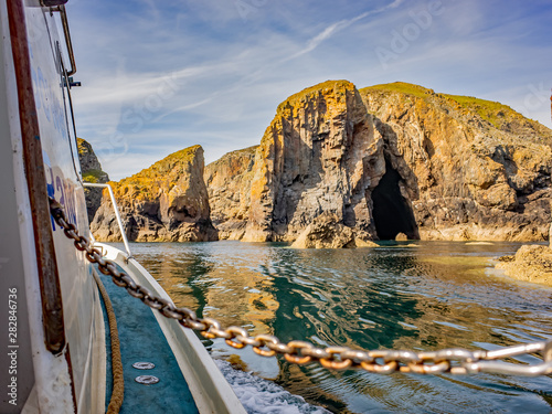 On board a boat on a nature watching excursion around Ramsey Island, South Wales Canvas Print