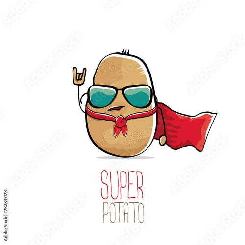 Stampa su Tela vector funny cartoon cute brown super hero potato with red hero cape isolated on white background