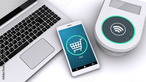 Fototapeta スマートフォンによる電子決済