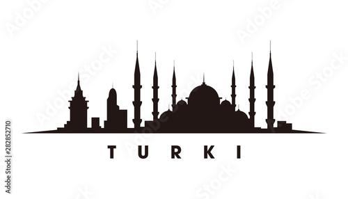 Fotografía Istanbul, constantinopel skyline and landmarks silhouette vector
