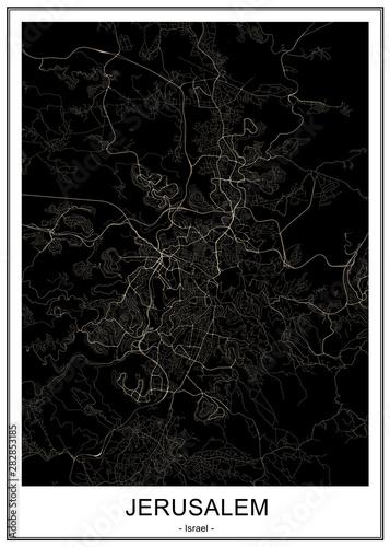 map of the city of Jerusalem, Israel Wallpaper Mural
