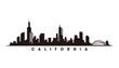California skyline and landmarks, silhouette vector