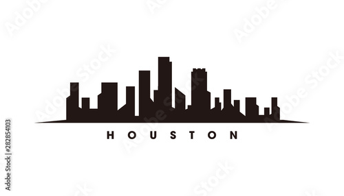 Fotografia  Houston skyline and landmarks silhouette vector