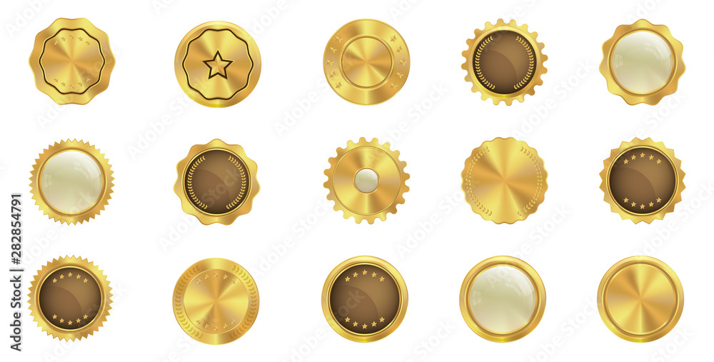Fototapety, obrazy: Set of gold badge icons