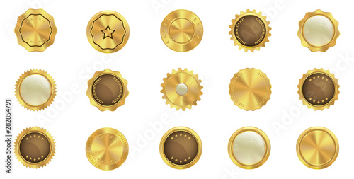 Fotomural  Set of gold badge icons