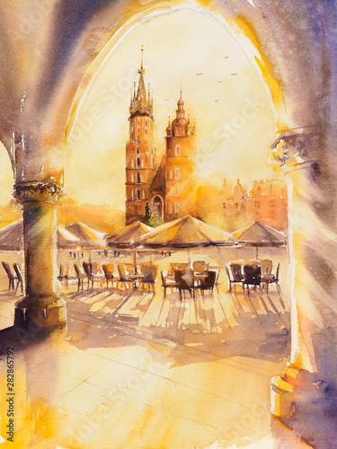 Fototapeta Church of St. Mary in the main Market Square at sunrise. Picture created with watercolors. obraz