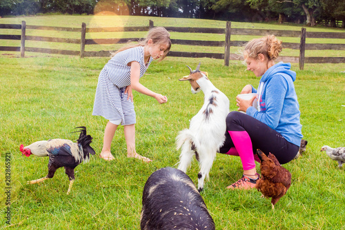 Fotografia beautiful girls on holiday at the farm donating to goats