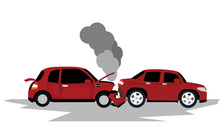 Damage Of Red Cars Collide At The End Causing Smoke From The Engine, Exterior Decoration Equipment Skirt Damage Front And Rear.