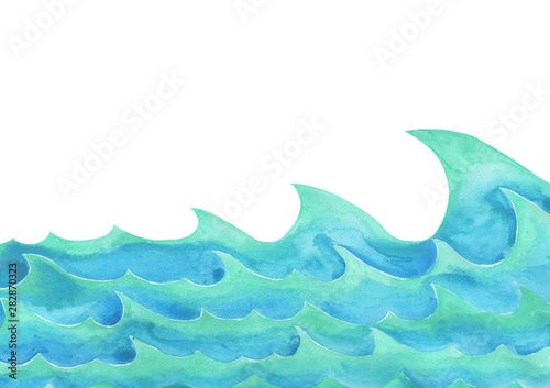 Abstract ocean wave watercolor hand painting background for decoration. © beelaa